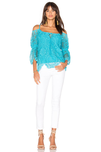 Medallion Lace Open Shoulder Top long