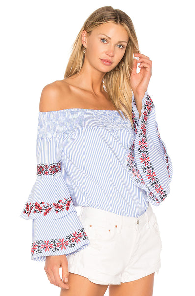 Striped Off the Shoulder Top with Ruffle Sleeves and Floral Embroidery