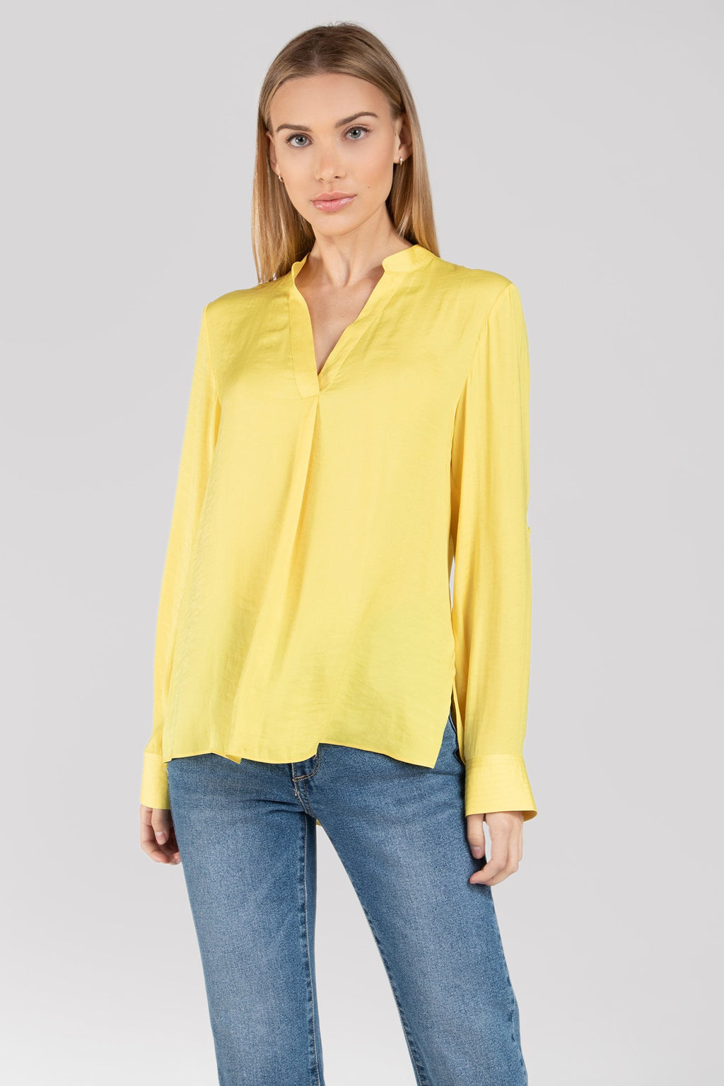 Short Collared Long Sleeve Blouse in Sunshine Yellow