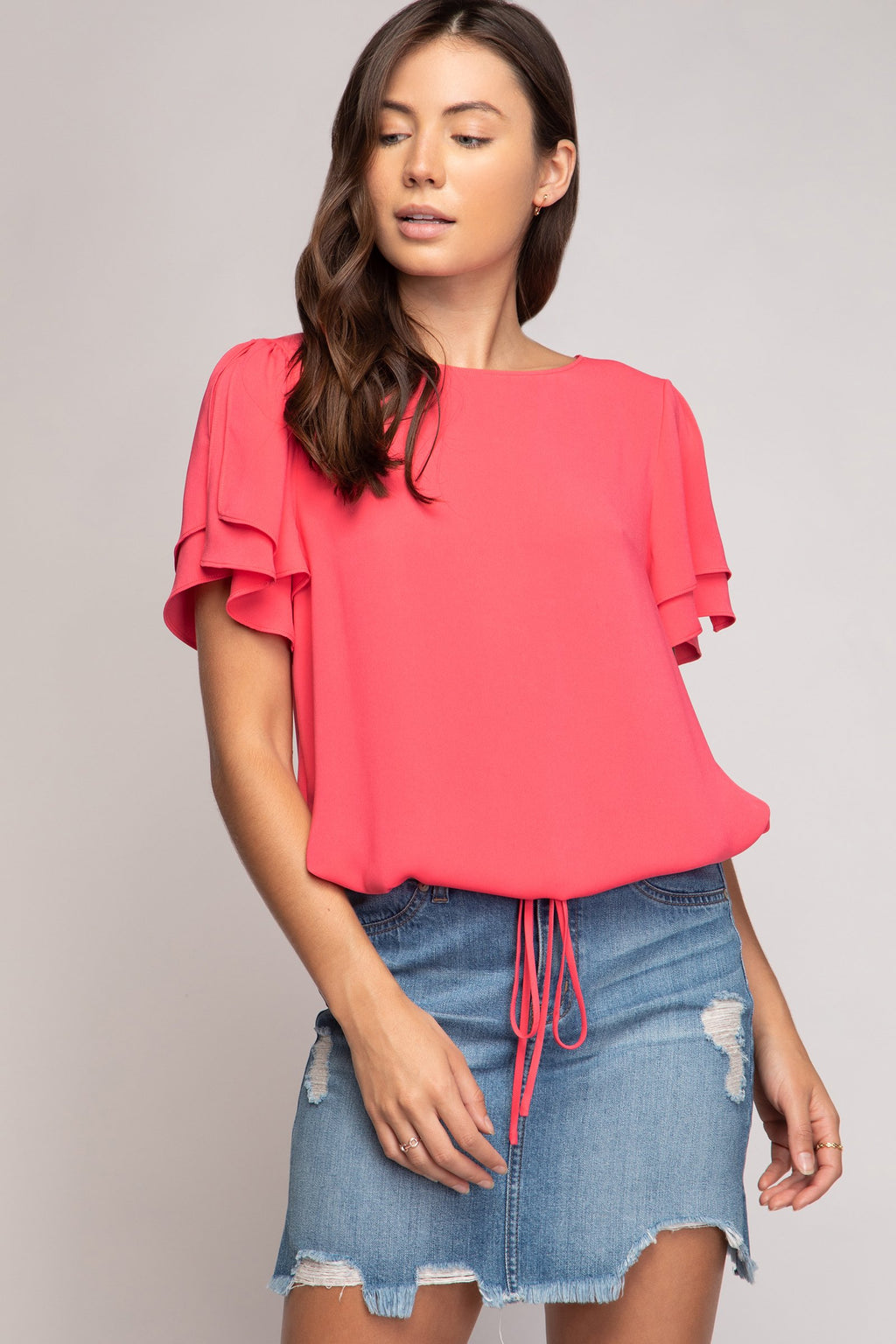 Ruffled Slit Sleeve Blouse with Drawstring Waist Tie in Watermelon
