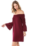 Off Shoulder Shift Dress in Burgundy
