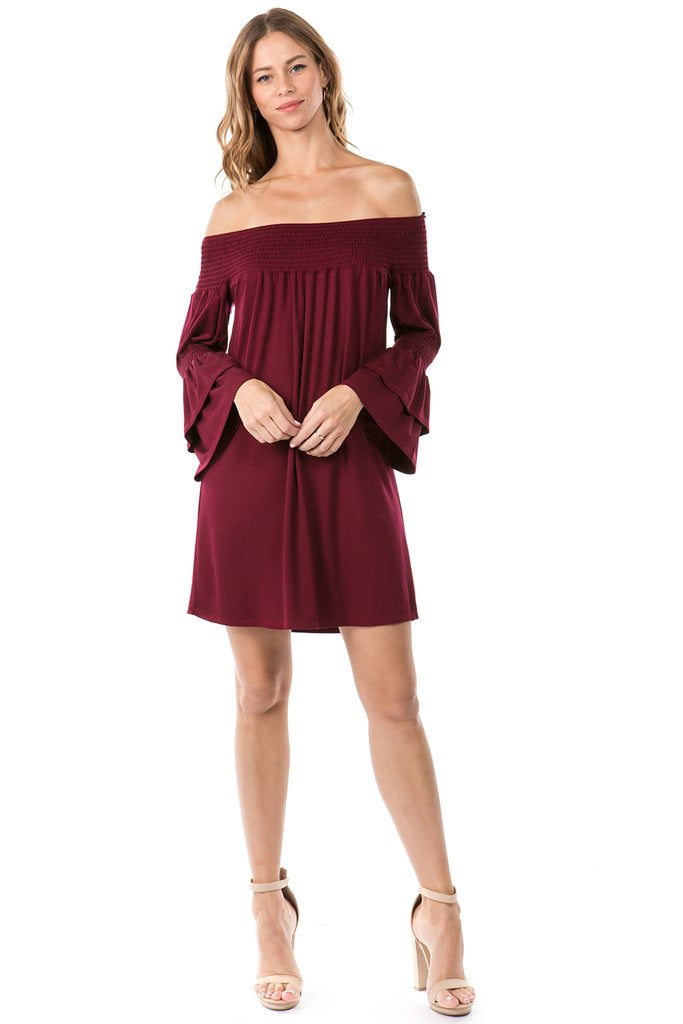 LAST CALL SIZE S | Off Shoulder Shift Dress in Burgundy