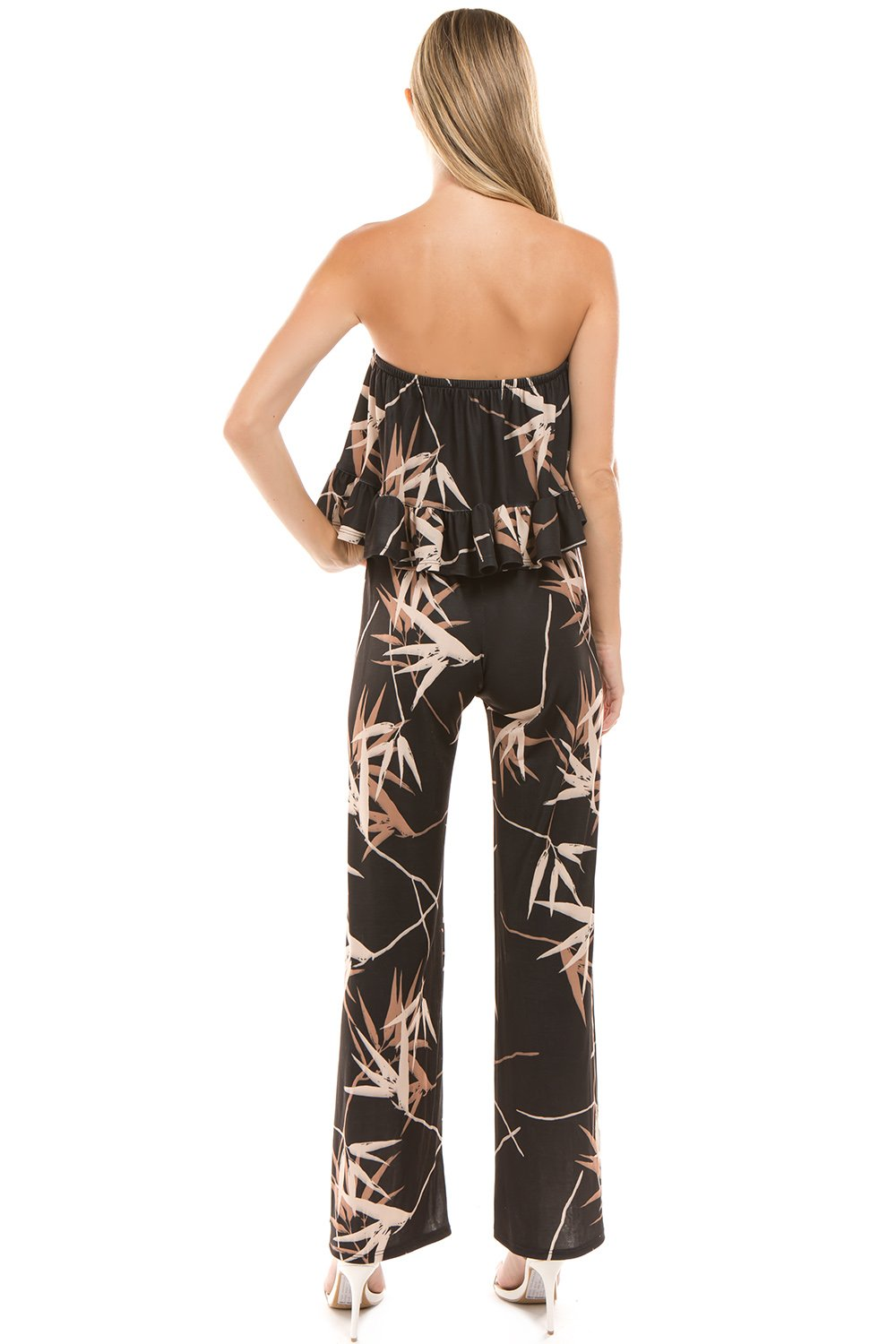 Bamboo Print Tube Top Jumpsuit
