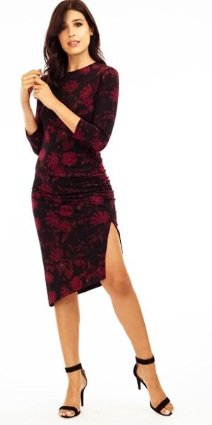 LAST CALL SIZE L | Burgundy Rose Bodycon Dress