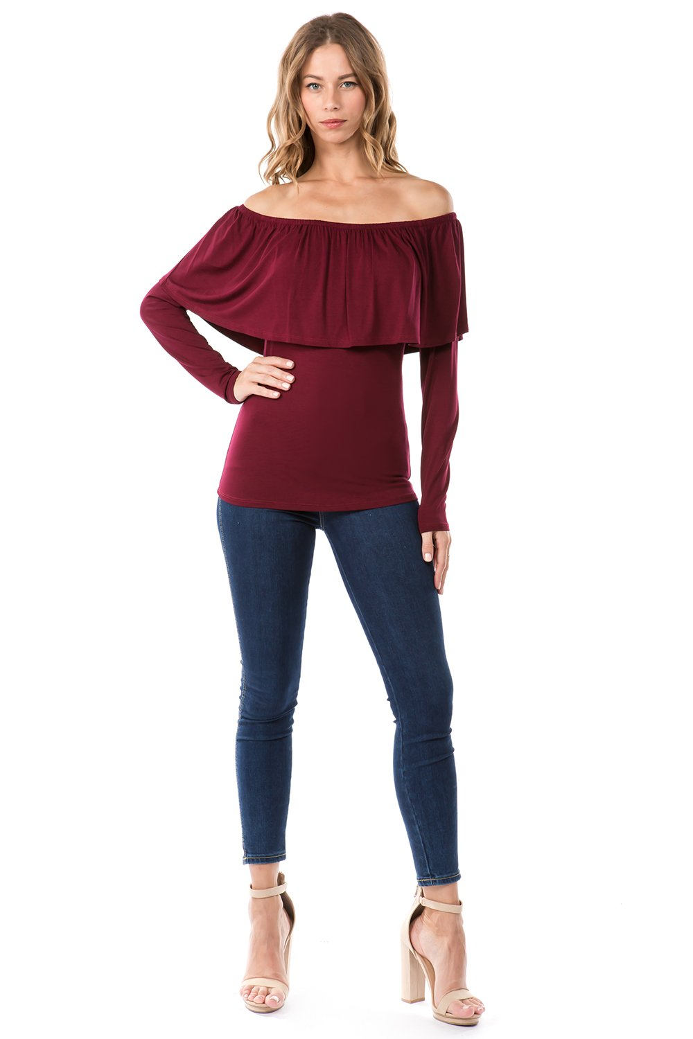 Off Shoulder Ruffled Neck Blouse in Burgundy Front