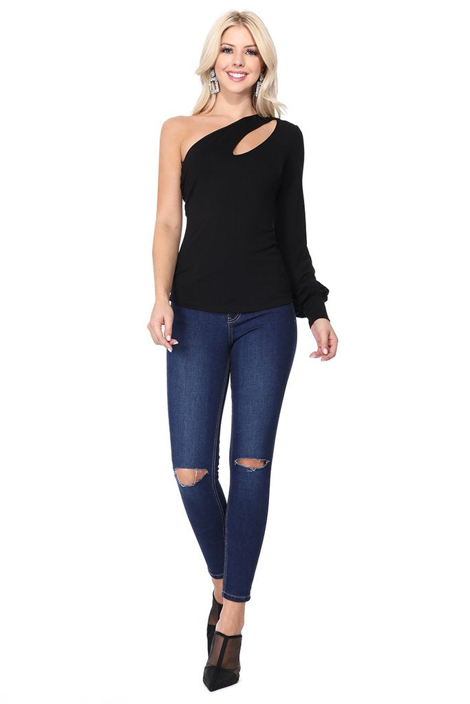One Cold Shoulder Cutout Top in Black