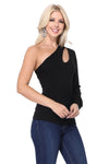 LAST CALL SIZE L | One Cold Shoulder Cutout Top in Black