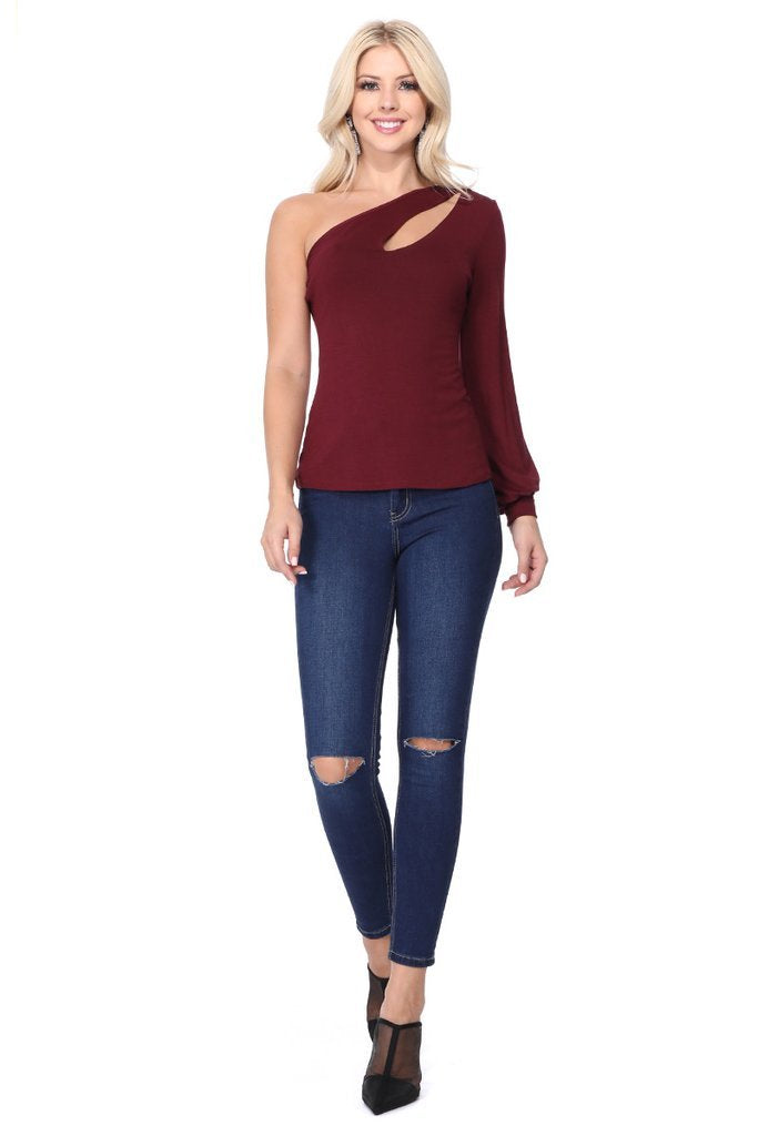 One Cold Shoulder Cutout Top in Burgundy