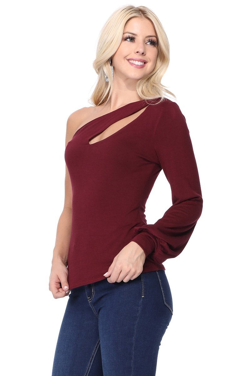 One Cold Shoulder Cutout Top in Burgundy Side