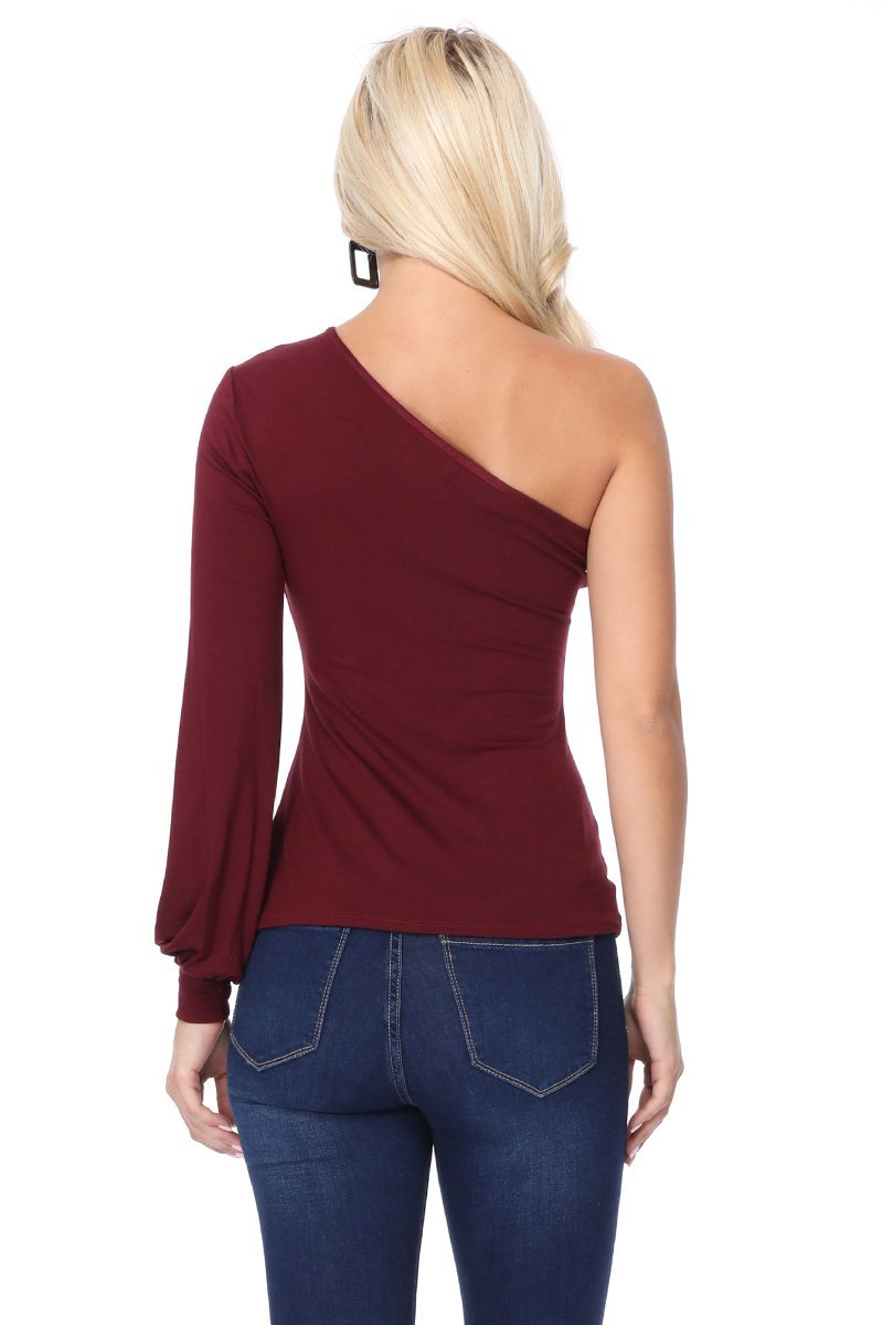 One Cold Shoulder Cutout Top in Burgundy Back