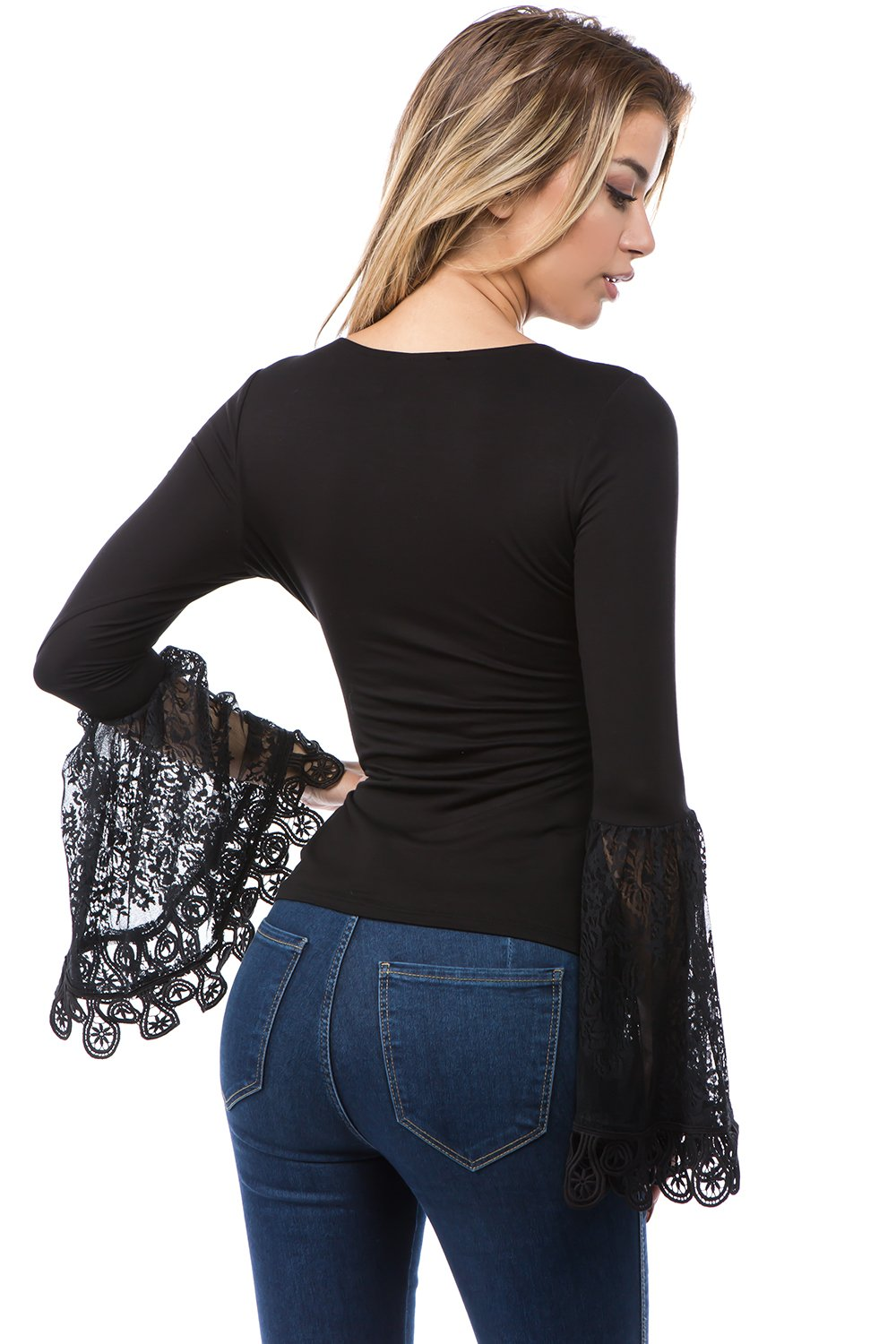 LAST CALL SIZE S | Long Lace Bell Sleeve Top in Black with Cutout Neckline