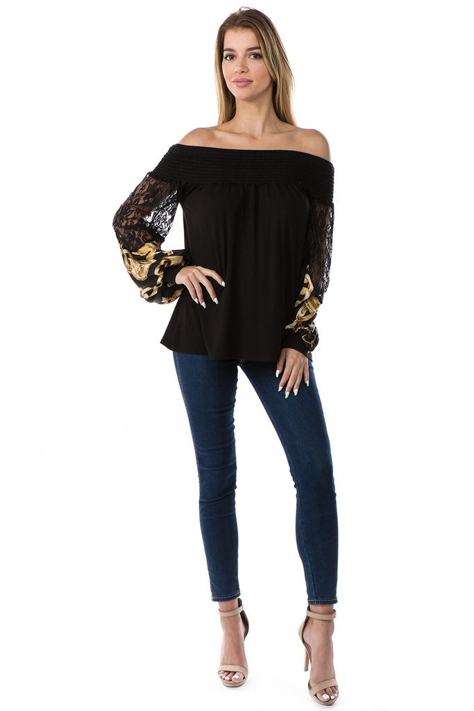 Off Shoulder Silk Chain Print Sleeve Blouse with Lace Details
