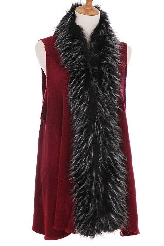 Faux Fur Lined Sweater Vest in Burgundy and Black