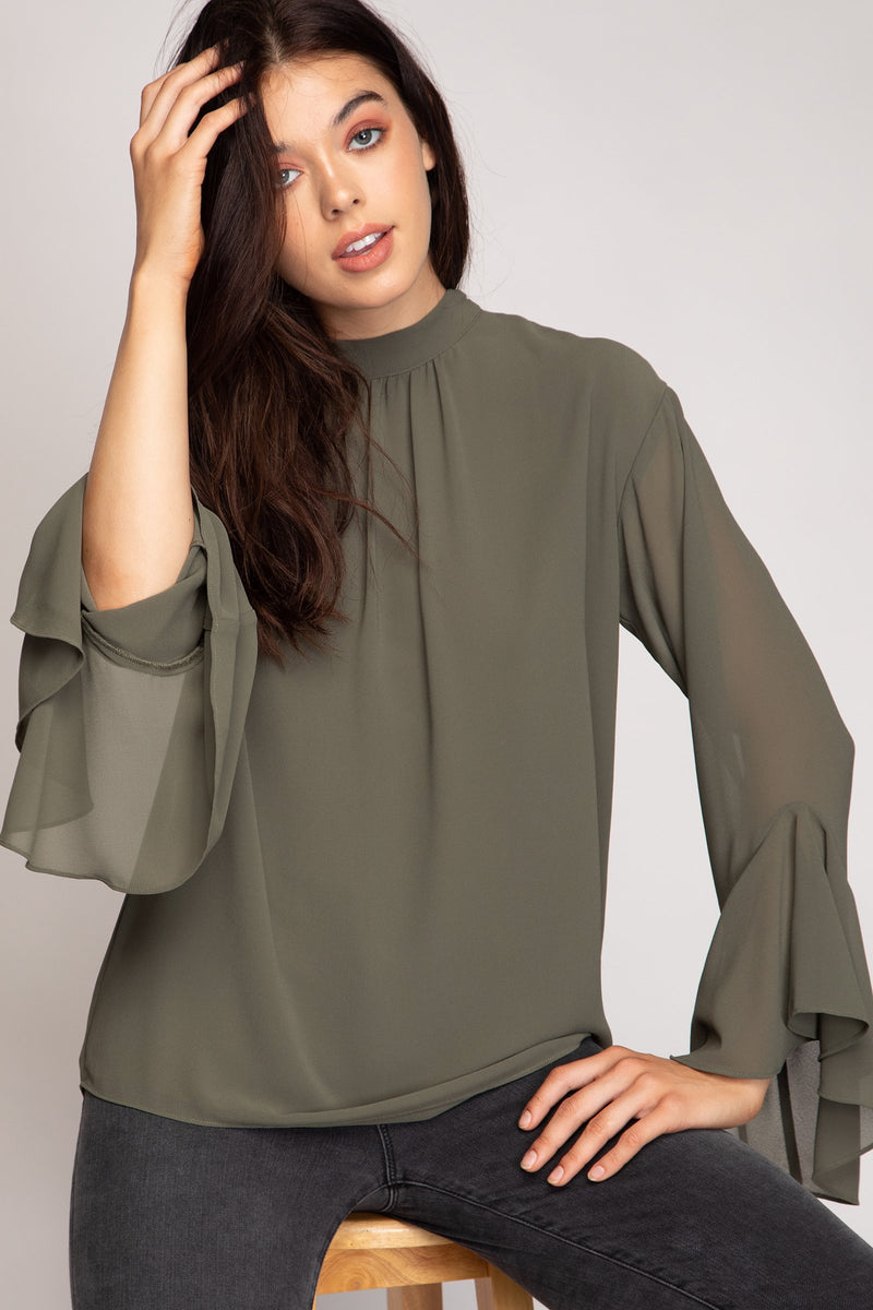 Long Sleeve Mock Neck Blouse Front