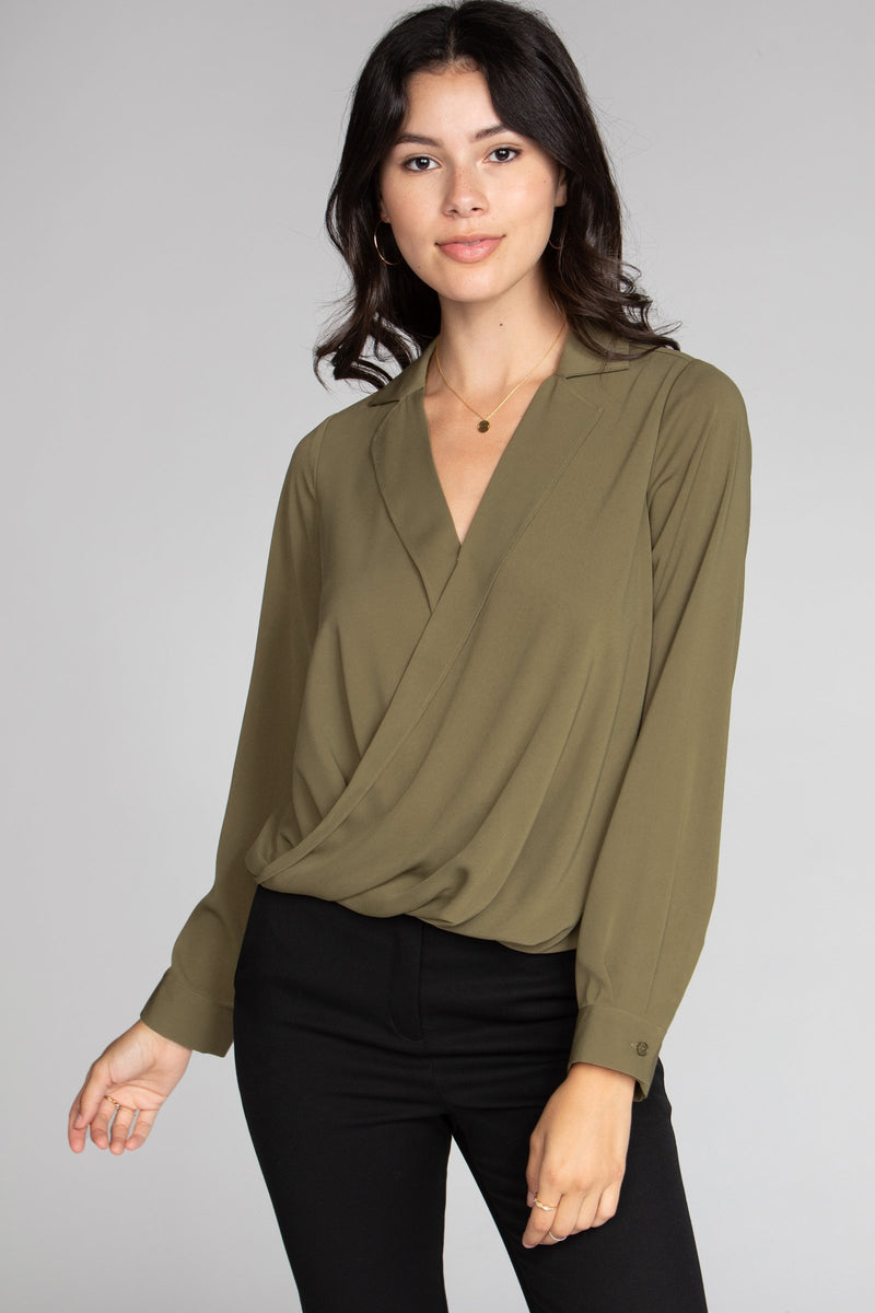 Long Sleeve Wrap Blouse Front