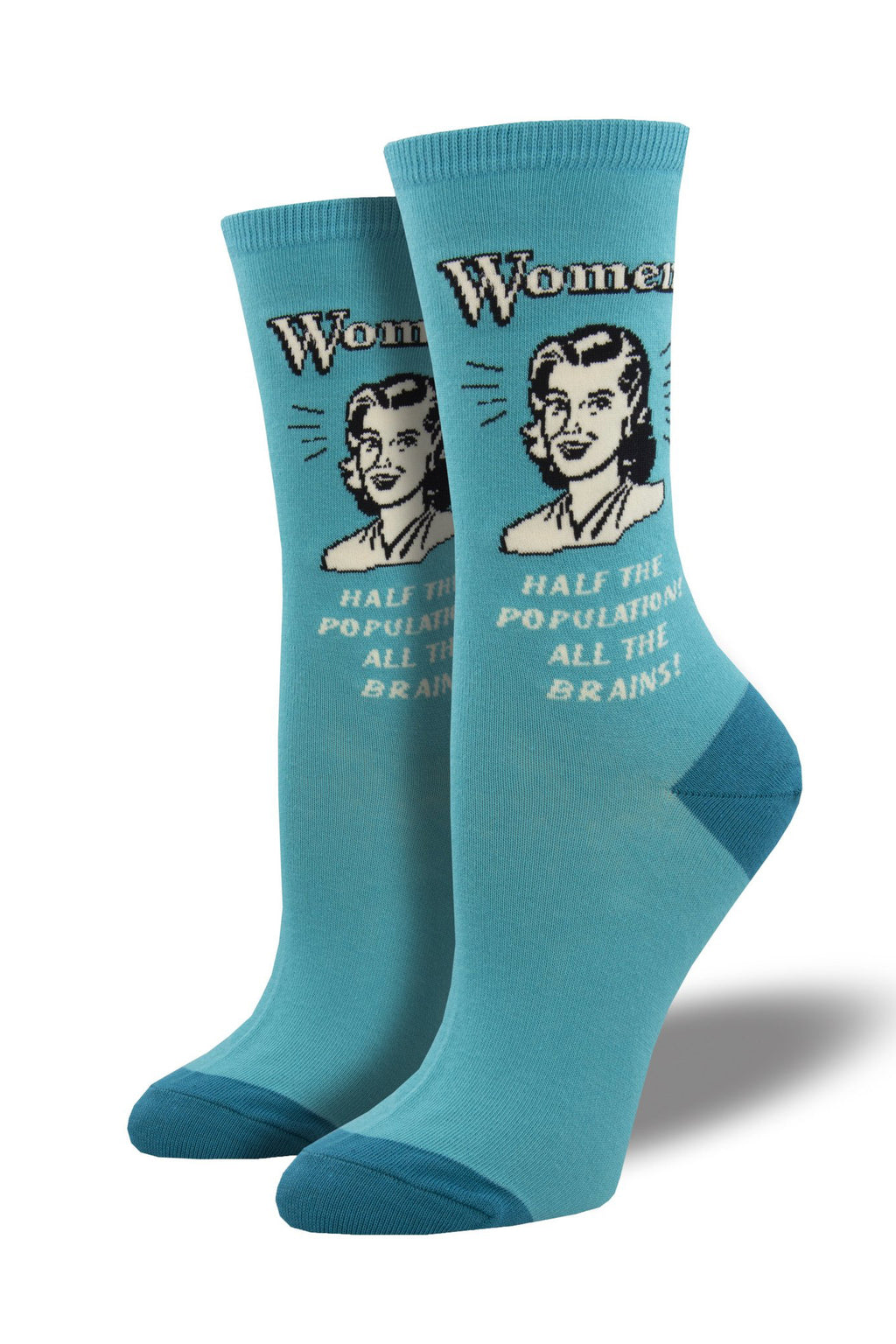 """All the Brains"" Socks in Teal"