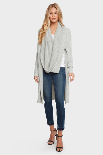 Cozy Cardigan Duster with Built-in Infinity Scarf