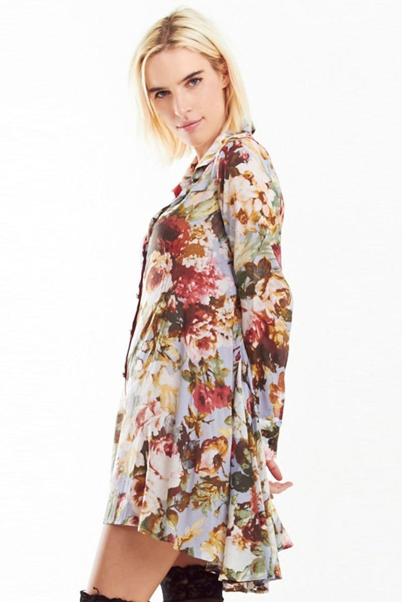 LAST CALL SIZE S | Vintage Floral Long Sleeve Tunic Dress