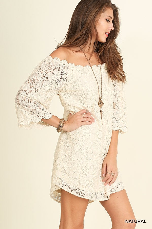 LAST CALL SIZE L | Off-The-Shoulder Lace Dress