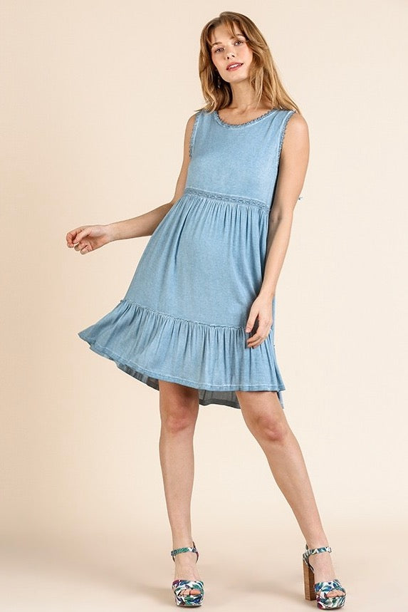 Washed Denim Sleeveless Dress