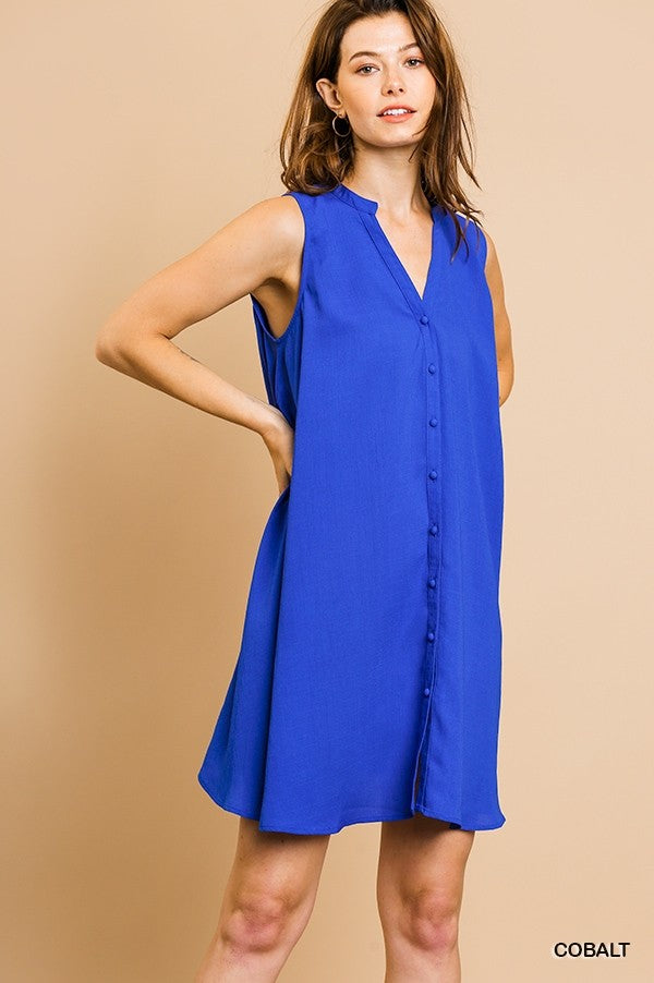 Sleeveless Cobalt Blue Button Down Dress