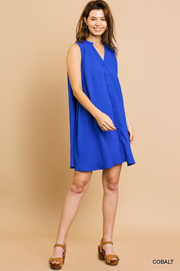 LAST CALL SIZE L | Sleeveless Cobalt Blue Button Down Dress