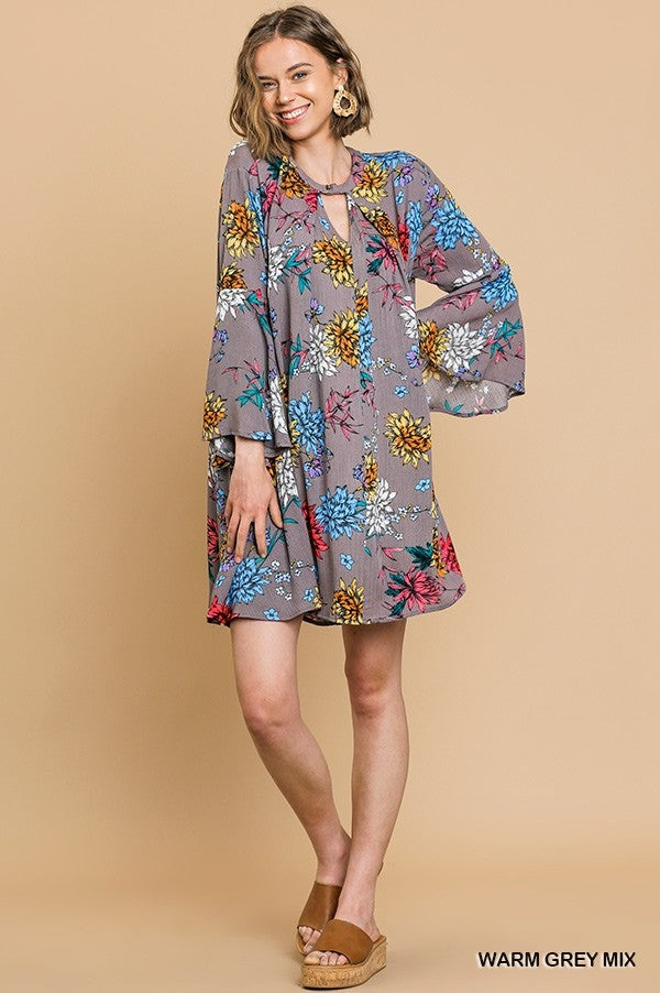 Bright Florals Print Bell Sleeve Dress in Grey