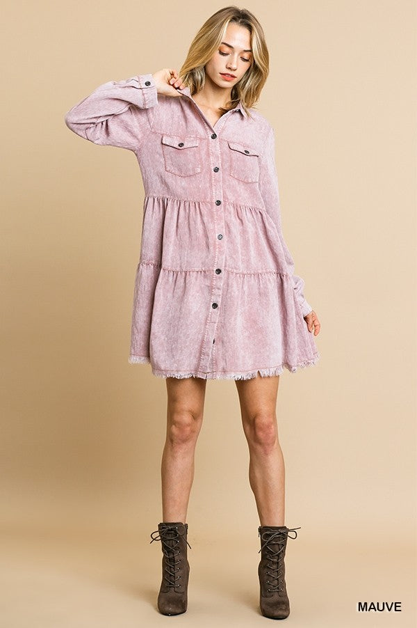 Button Down Tiered Ruffle Dress in Mauve