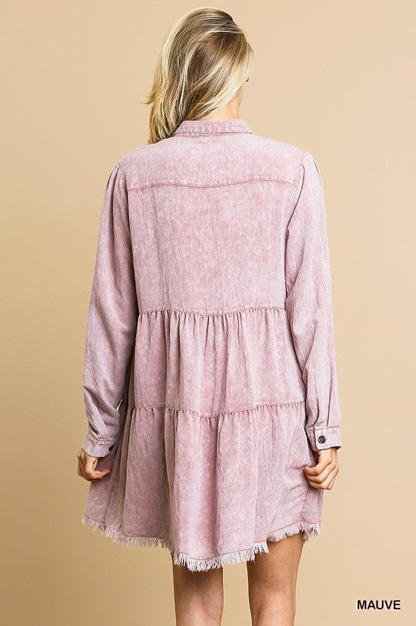LAST CALL SIZE L | Button Down Tiered Ruffle Dress in Mauve