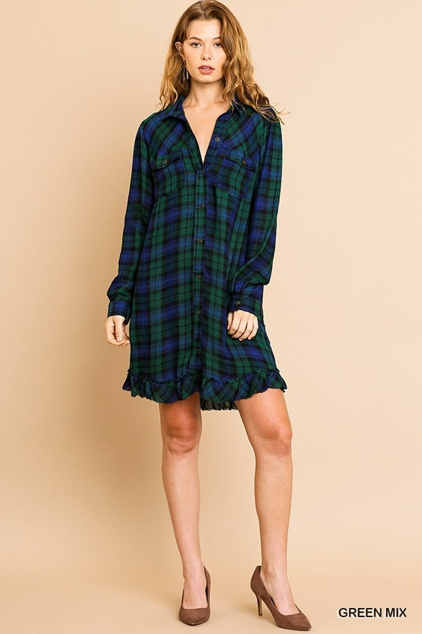Plaid Button Down Long Sleeve Tunic Dress with Frayed Hem in Navy/Green