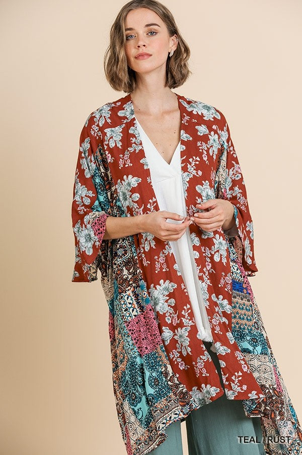 Fall Floral and Patchwork Print Kimono