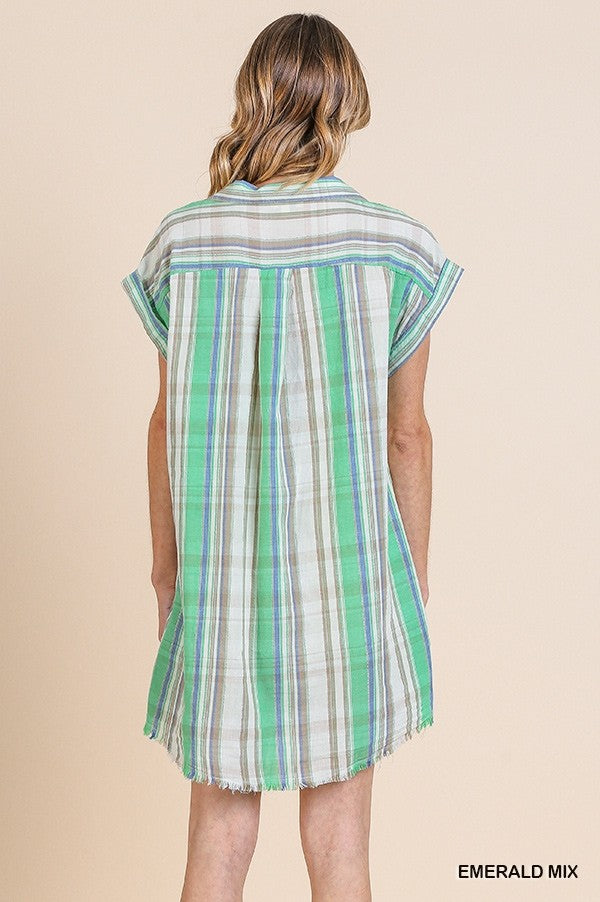 Plaid Print Button Down Dress with a Frayed Hem in Emerald Mix