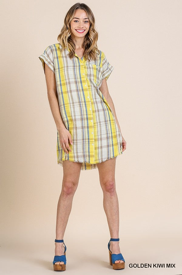 Plaid Print Button Down Dress with a Frayed Hem in Golden Kiwi