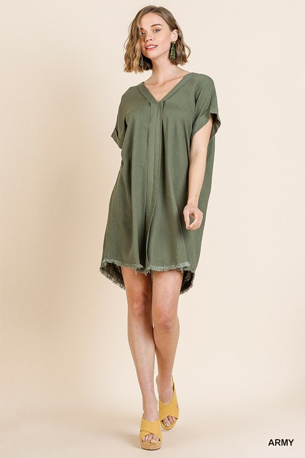 Short Folded Sleeve V-Neck Dress with Frayed Hem in Army Green