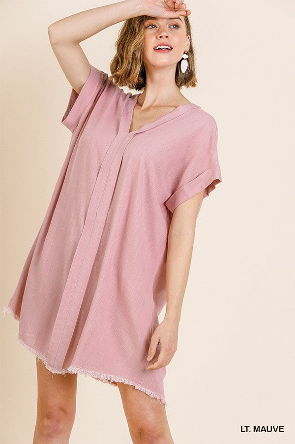 Short Folded Sleeve V-Neck Dress with Frayed Hem in Mauve