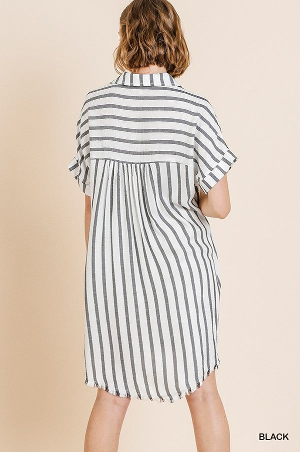 LAST CALL SIZE L | Striped Short Sleeve Dress with Metallic Thread and Frayed Hem