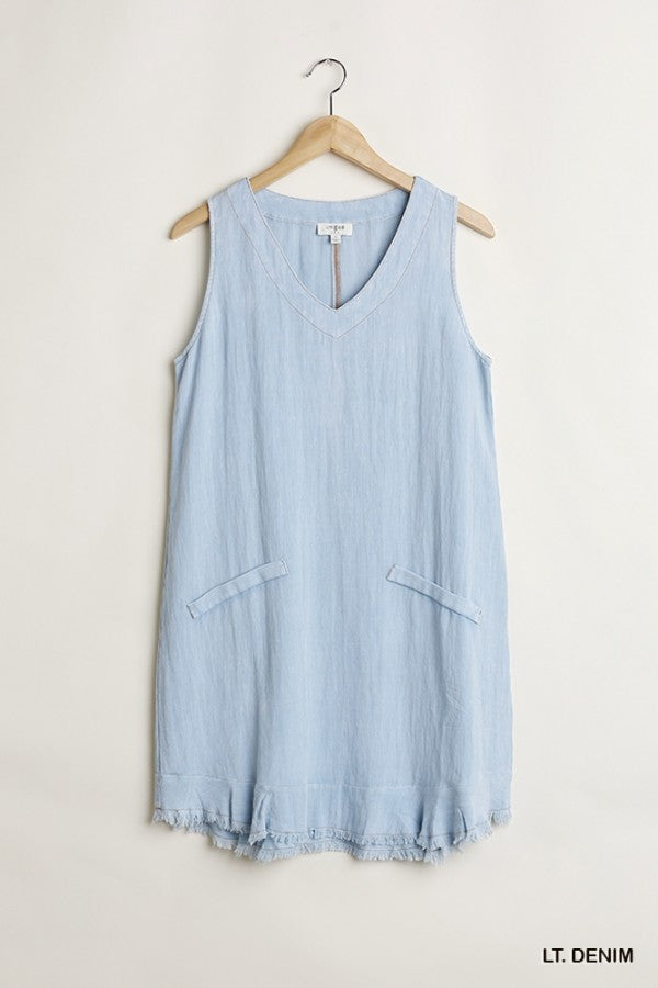 LAST CALL SIZE M | Light Denim V-Neck Dress with Pockets