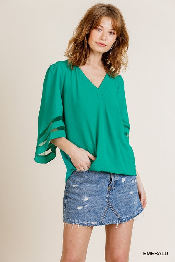 Mesh Burnout Bell Sleeve Top Emerald