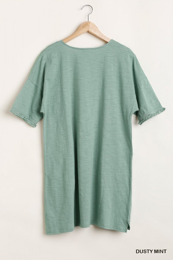 Cotton Scoop Neck Dress with Front Pockets in Mint Green