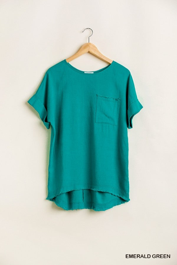 LAST CALL SIZE S | Linen Blend T-Shirt Top in Emerald
