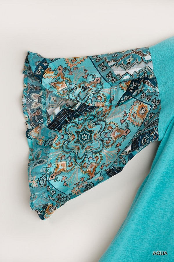 LAST CALL SIZE S | Solid Aqua Top with Paisley Print Short Sleeves