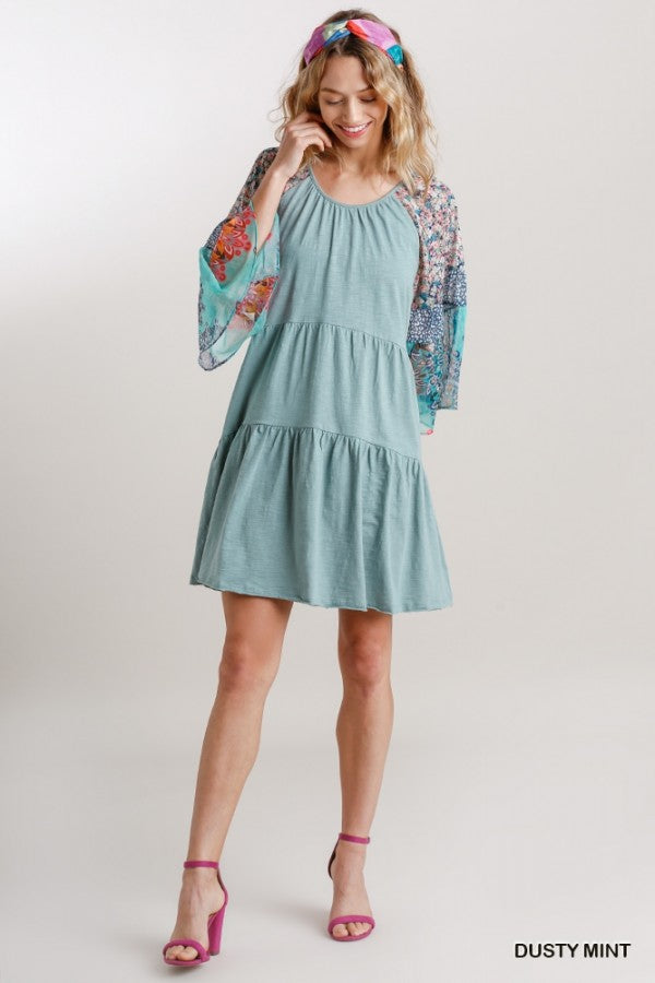 Tiered Cotton Dress with Mixed Print Sleeves