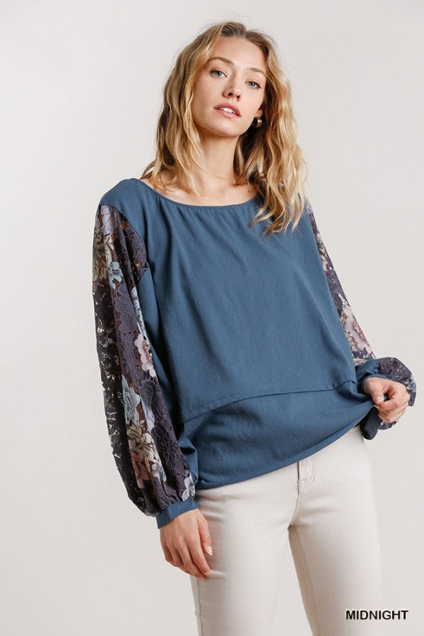 Blue Peasant Top with Lace Sleeves