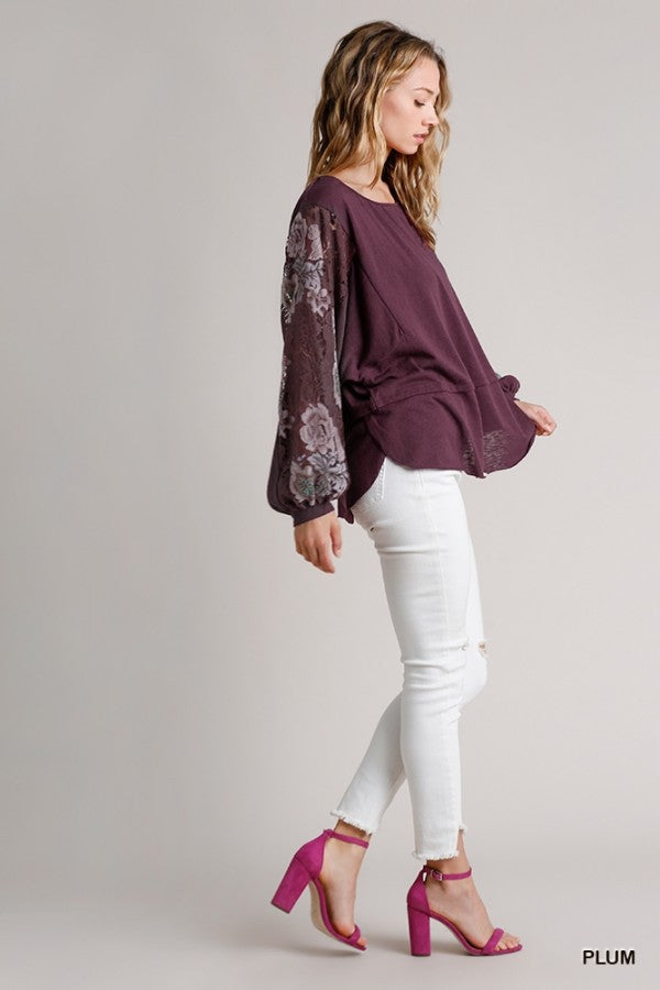Maroon Peasant Top with Lace Sleeves