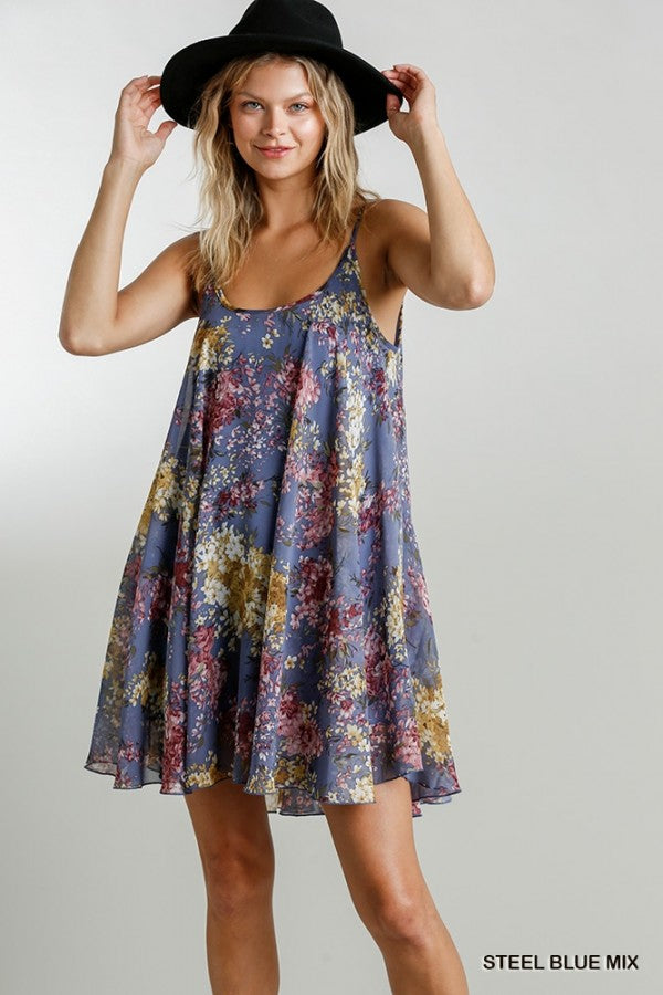 LAST CALL SIZE L | Spaghetti Strap Floral Print Dress in Steel Blue