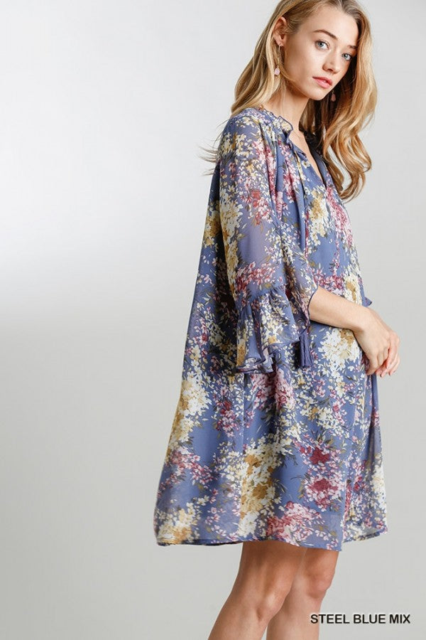 LAST CALL SIZE M | Floral Long Sleeve Bohemian Dress in Steel Blue