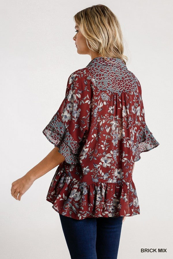 Mixed Floral & Leopard Trim Tunic in Maroon