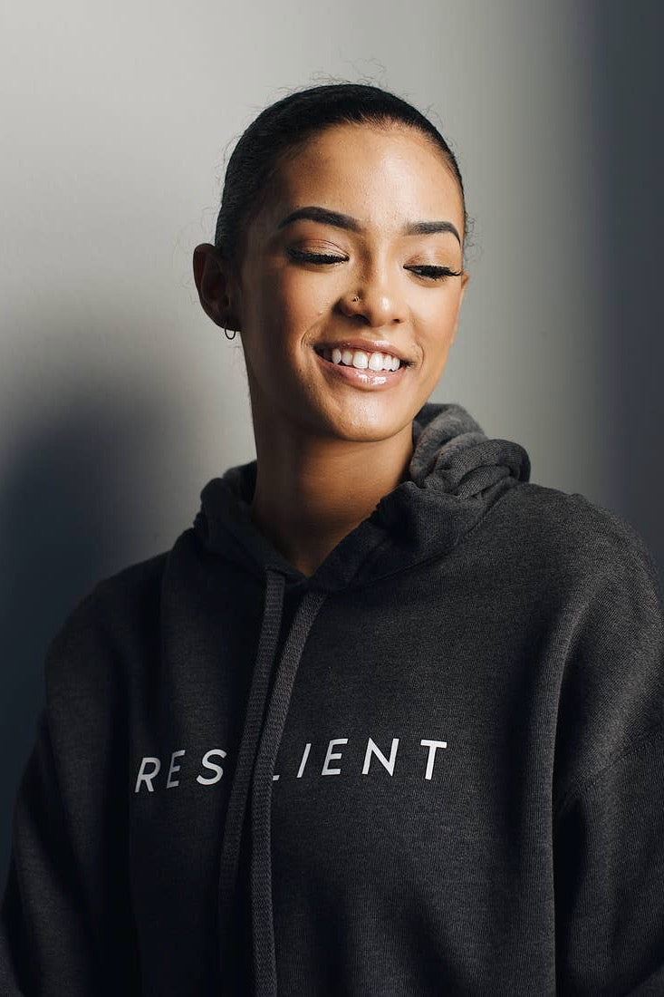 Resilient Cropped Hoodie Sweatshirt in Charcoal