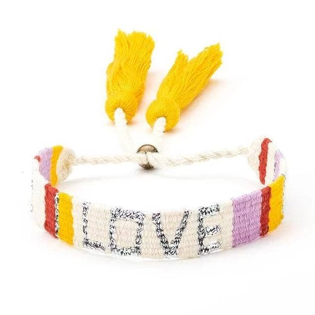 Woven Love Bracelet in White and Red