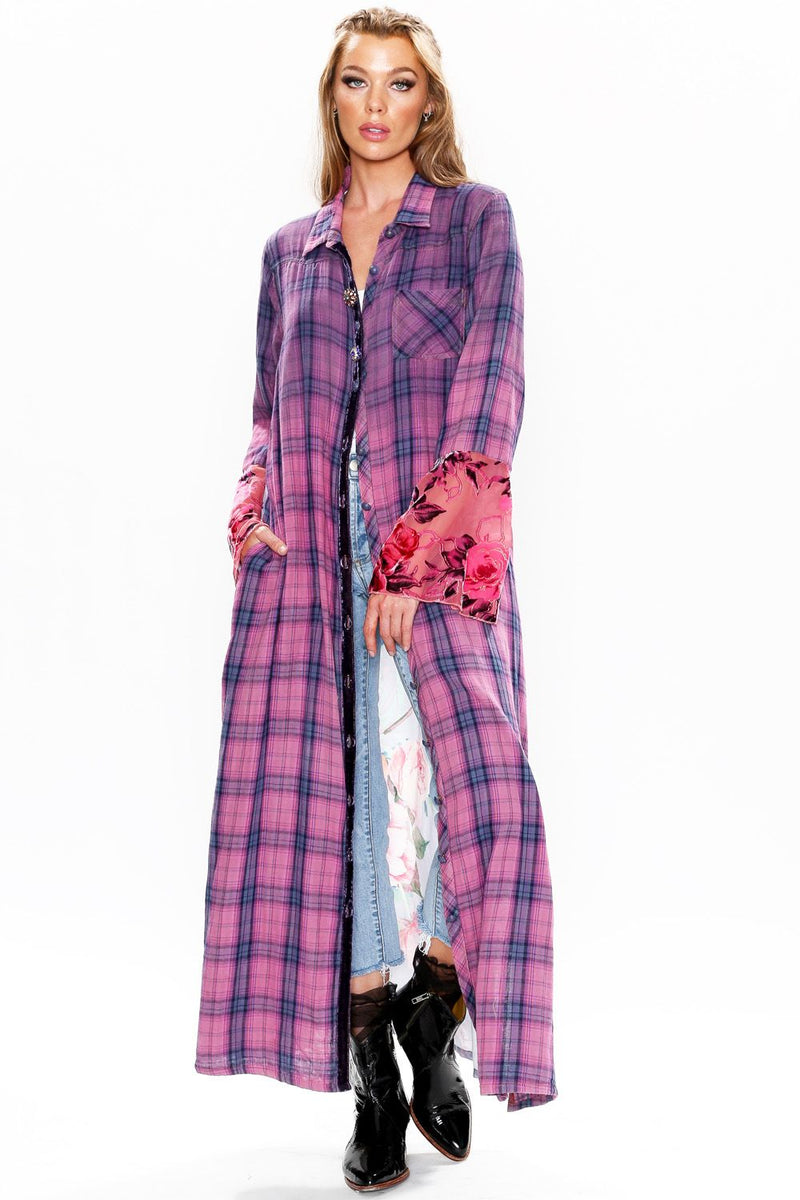 Plaid Maxi Duster with Peacock Back